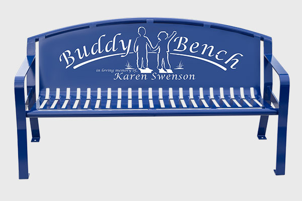 Blue Swooped Buddy Benches