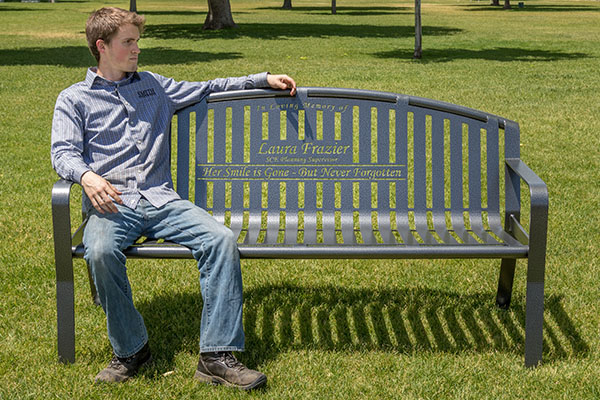 Custom Memorial Benches on trash receptacles