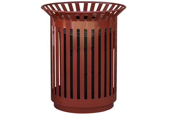 Custom Red Trash Receptacles