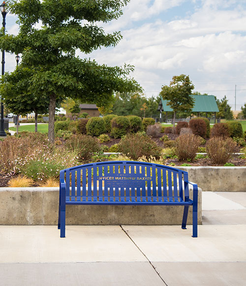 Blue Police Officer Benches