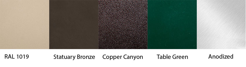 Powder Coated Aluminum Top Color Options