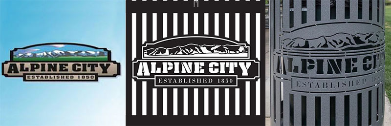 Alpine City Trash Receptacles With Logo
