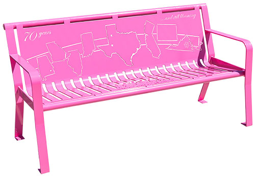 Pink Powder Coated Memory Benches