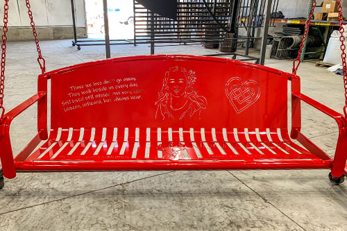 Bangel Red Powder Coated Swing Bench