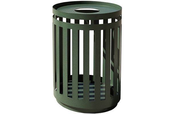 Green Powder Coated Trash Receptacles