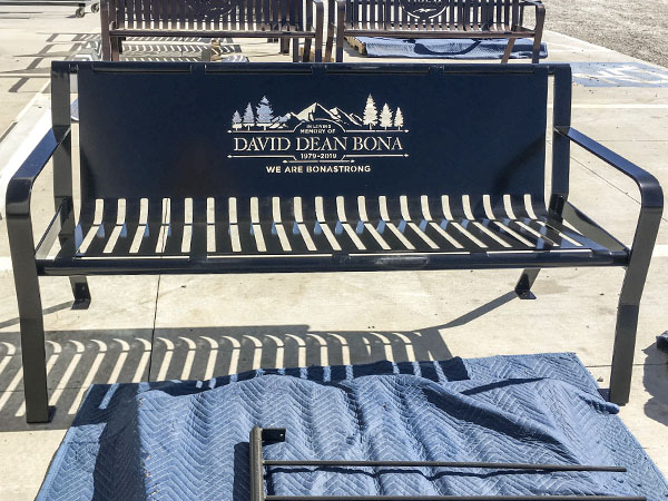 Black Powder Coated Bonastrong Memorial Bench