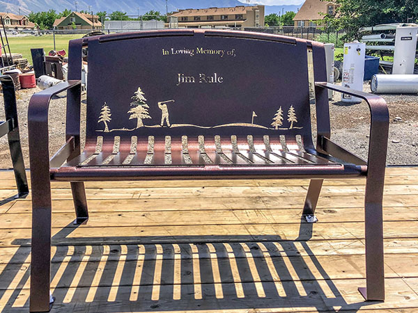 Golf Themed Memorial Park Bench