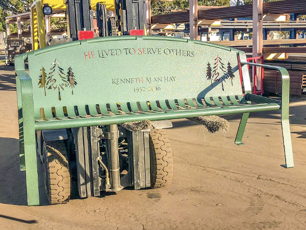 Green Powder Coated Memorial Benches