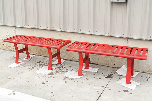 Hammertone Red Backless Benches