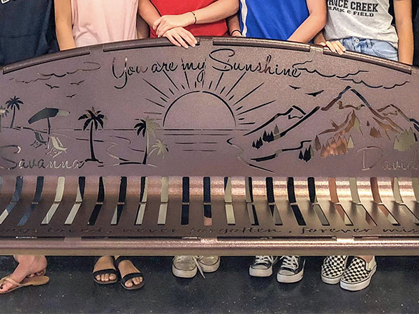 Metal Sibling Memorial Benches