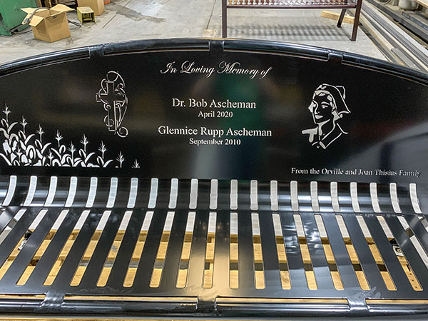 Metal Homage Memorial Bench