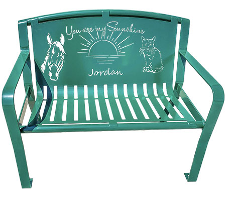 Powder Coated Green Garden Memory Bench