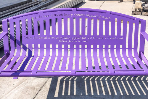 Purple Powder Coated Memorial Benches