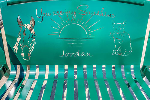 Green Powder Coated Garden Memorial Benches