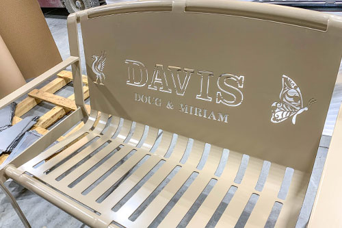 Tan Powder Coated Memory Bench