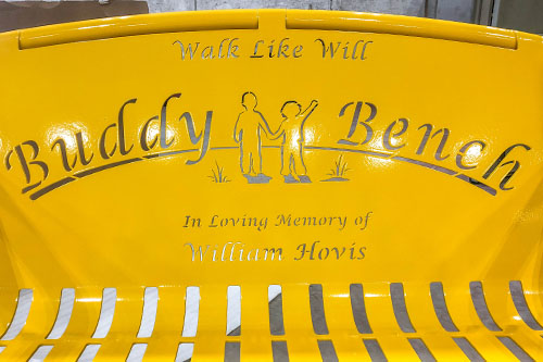 Bright Yellow Buddy Benches For Memorials