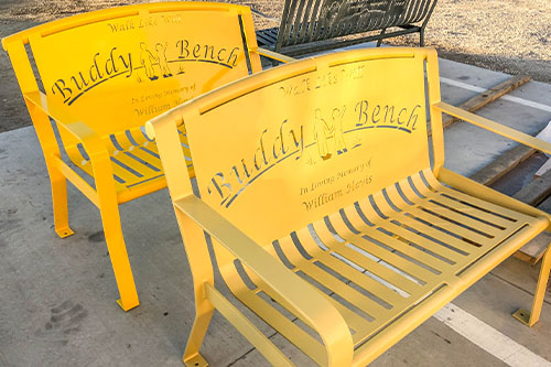 Yellow Shaded Buddy Benches