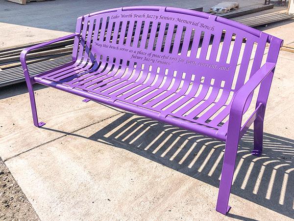 Purple Lilac Jazzy Seniors Memorial Bench
