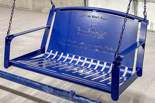 Cobalt Blue Powder Coated Memorial Swings