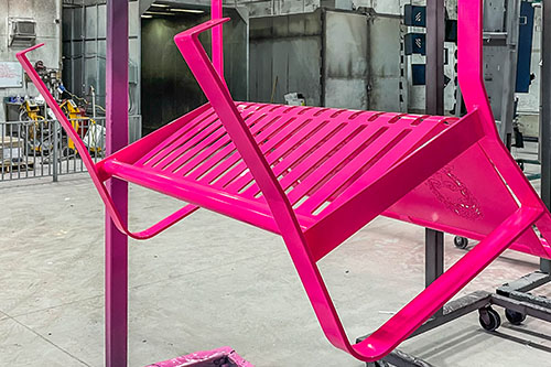Bright Pink Powder Coataed Benches