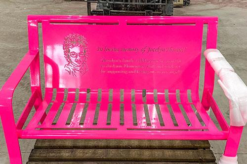 Sassy Pink Powder Coated Memorial Bench